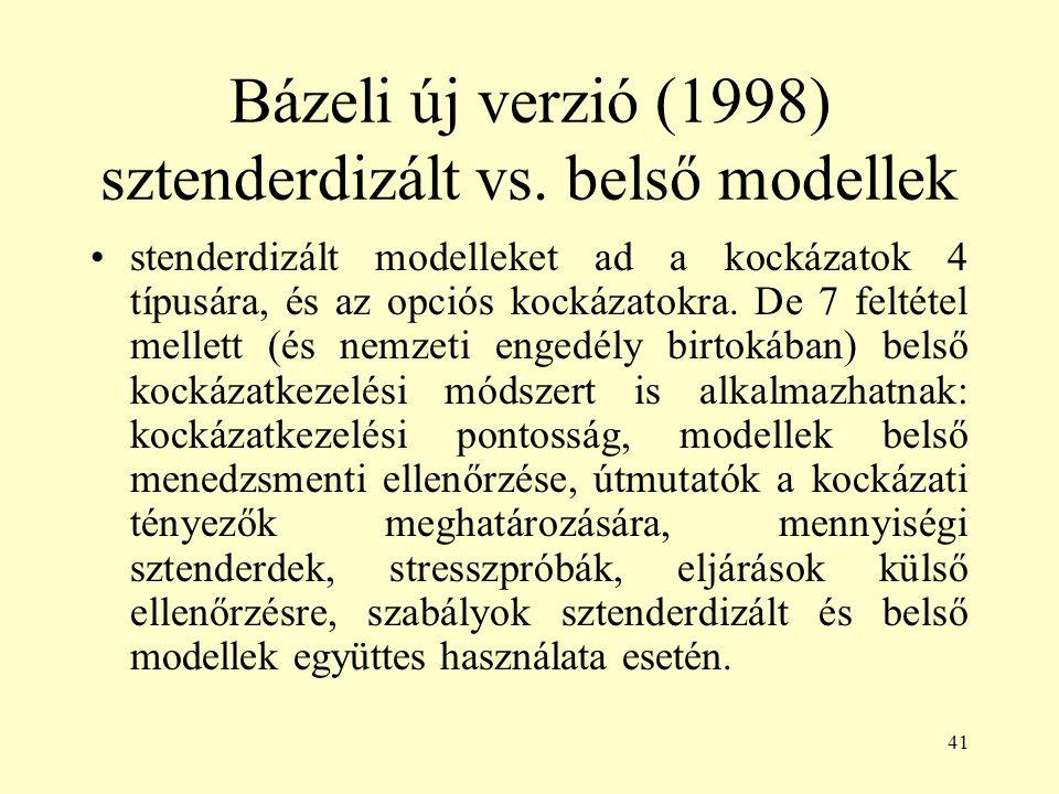 41 Bázeli új verzió (1998) sztenderdizált vs. belső modellek stenderdizált modelleket ad a kockázatok 4 típusára, és az opciós kockázatokra. De 7 felt