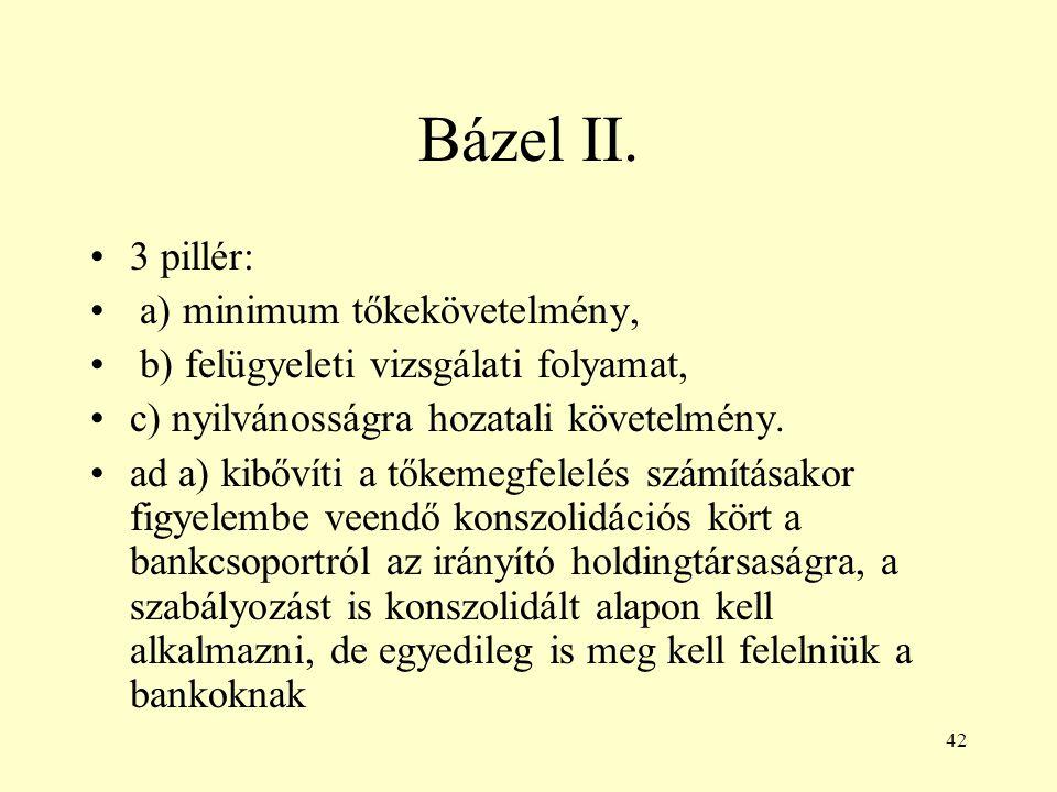 42 Bázel II. 3 pillér: a) minimum tőkekövetelmény, b) felügyeleti vizsgálati folyamat, c) nyilvánosságra hozatali követelmény. ad a) kibővíti a tőkeme