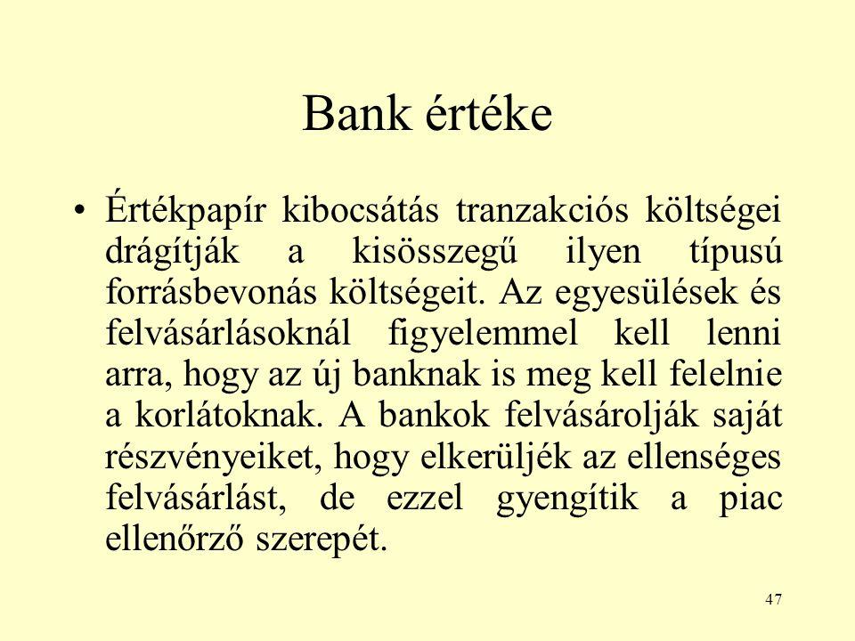 47 Bank értéke Értékpapír kibocsátás tranzakciós költségei drágítják a kisösszegű ilyen típusú forrásbevonás költségeit. Az egyesülések és felvásárlás