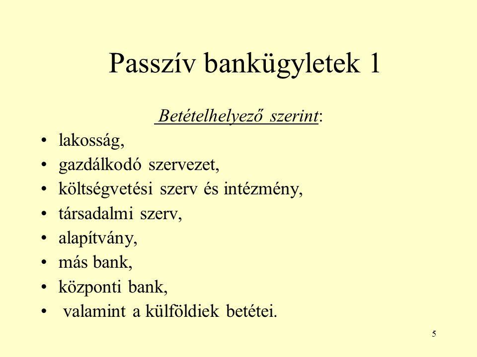 5 Passzív bankügyletek 1 Betételhelyező szerint: lakosság, gazdálkodó szervezet, költségvetési szerv és intézmény, társadalmi szerv, alapítvány, más b