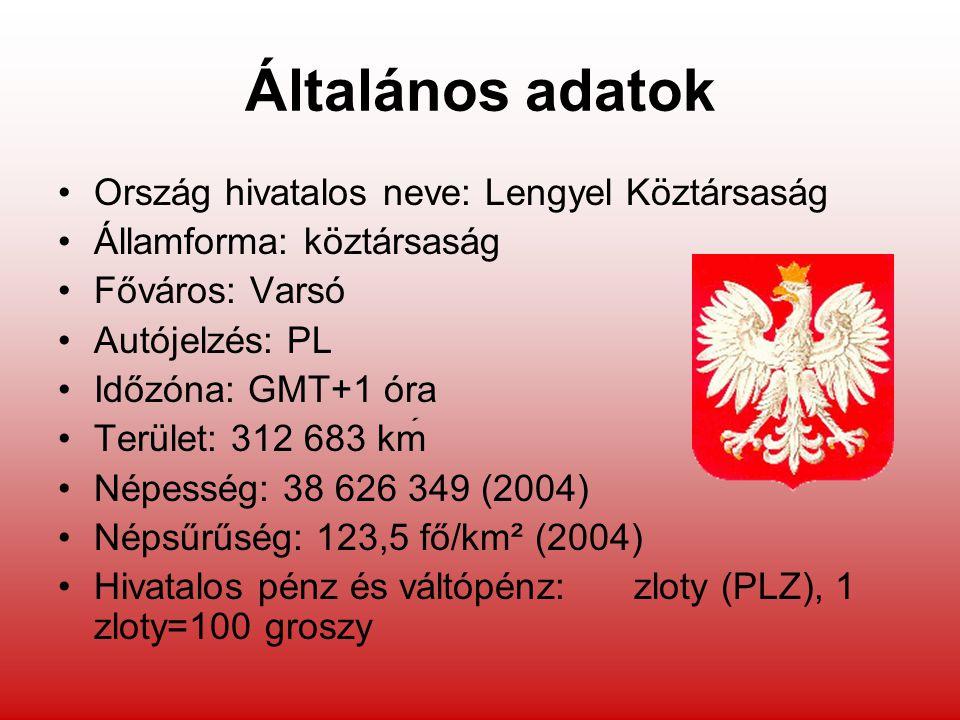 Általános adatok Ország hivatalos neve: Lengyel Köztársaság Államforma: köztársaság Főváros: Varsó Autójelzés: PL Időzóna: GMT+1 óra Terület: 312 683 km Népesség: 38 626 349 (2004) Népsűrűség: 123,5 fő/km² (2004) Hivatalos pénz és váltópénz: zloty (PLZ), 1 zloty=100 groszy