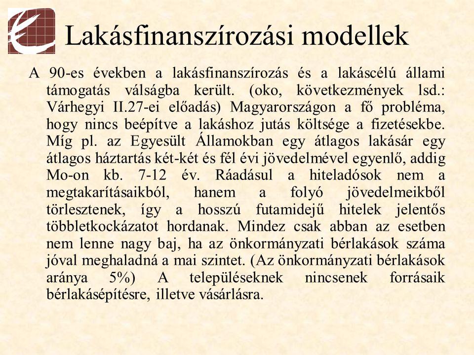 Lakásfinanszírozási modellek A 90-es években a lakásfinanszírozás és a lakáscélú állami támogatás válságba került. (oko, következmények lsd.: Várhegyi