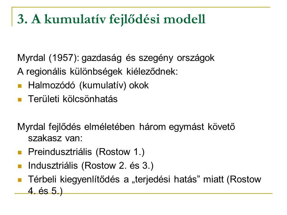 3. A kumulatív fejlődési modell Myrdal (1957): gazdaság és szegény országok A regionális különbségek kiéleződnek: Halmozódó (kumulatív) okok Területi