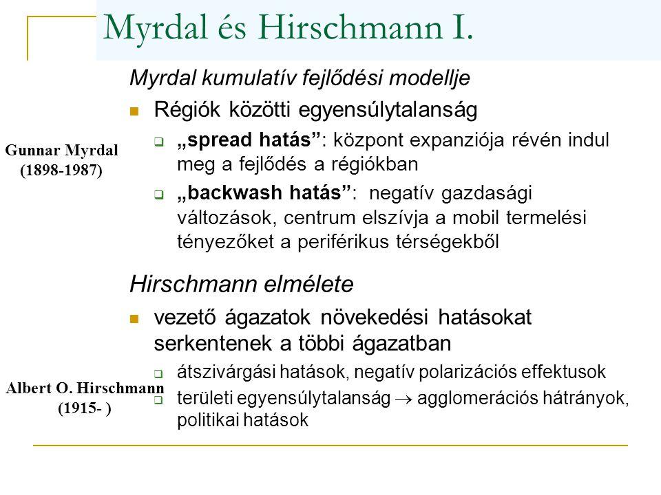 """Myrdal és Hirschmann I. Myrdal kumulatív fejlődési modellje Régiók közötti egyensúlytalanság  """"spread hatás"""": központ expanziója révén indul meg a fe"""
