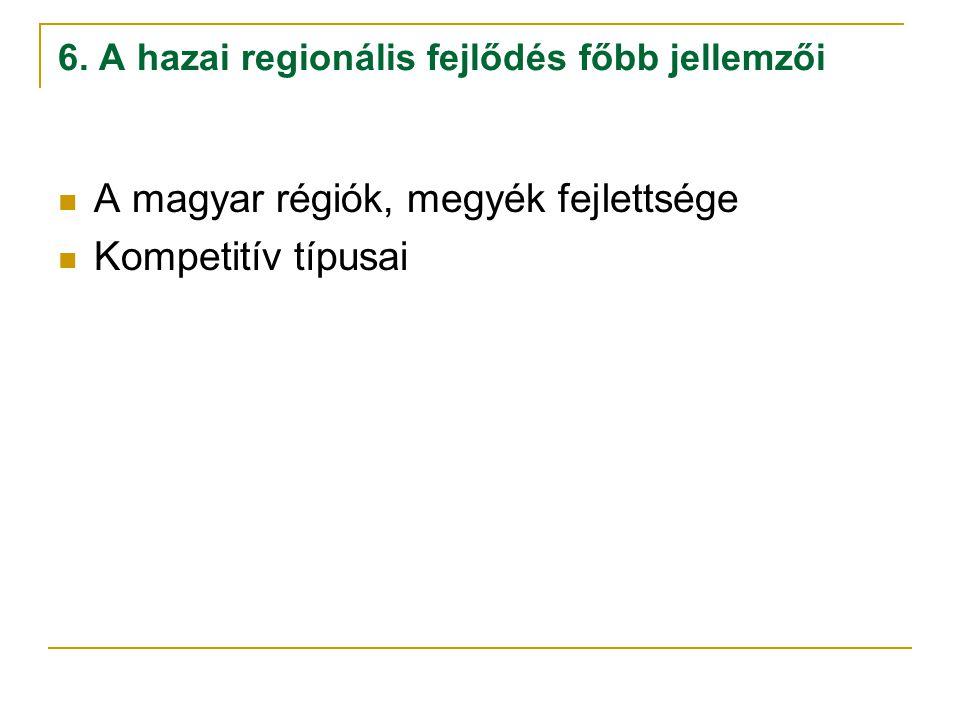 6. A hazai regionális fejlődés főbb jellemzői A magyar régiók, megyék fejlettsége Kompetitív típusai