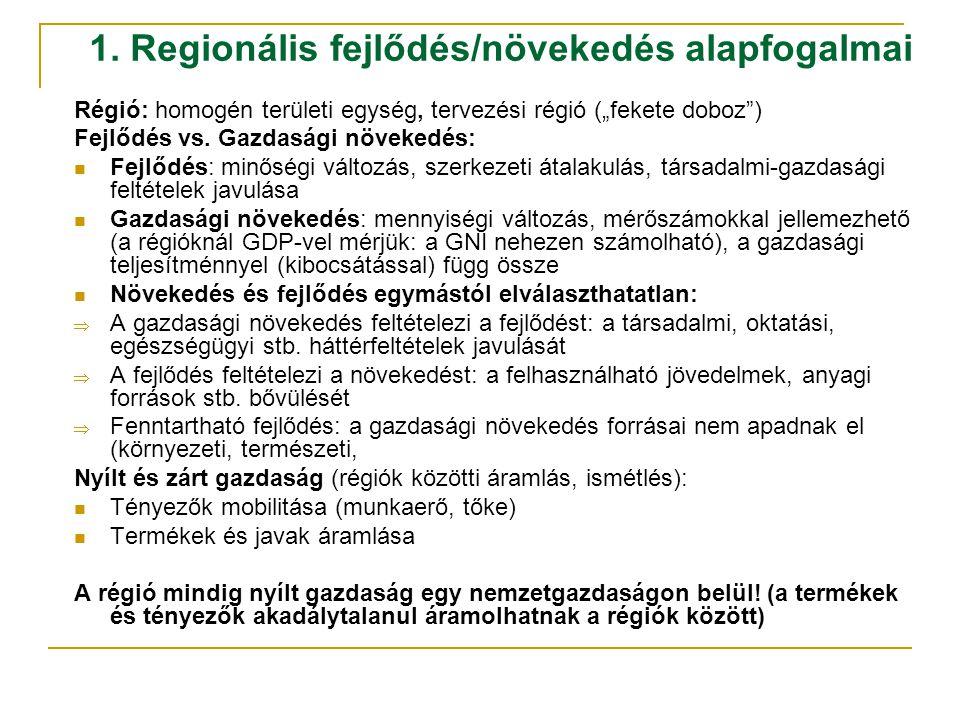 """1. Regionális fejlődés/növekedés alapfogalmai Régió: homogén területi egység, tervezési régió (""""fekete doboz"""") Fejlődés vs. Gazdasági növekedés: Fejlő"""
