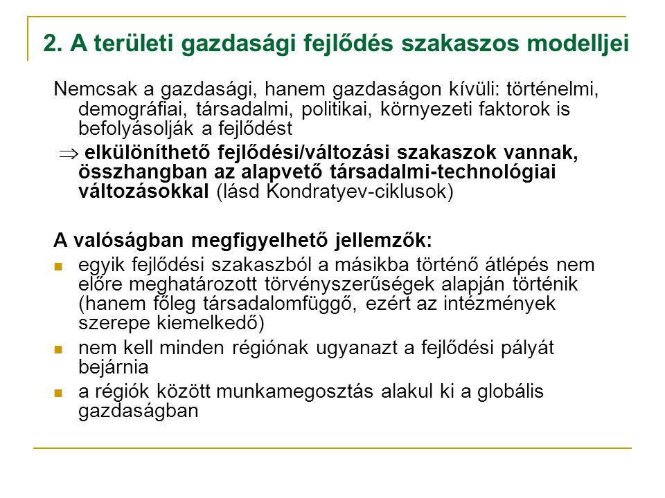 2. A területi gazdasági fejlődés szakaszos modelljei Nemcsak a gazdasági, hanem gazdaságon kívüli: történelmi, demográfiai, társadalmi, politikai, kör