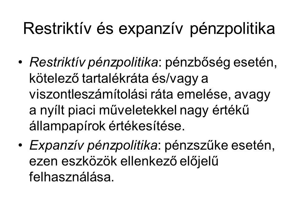Restriktív és expanzív pénzpolitika Restriktív pénzpolitika: pénzbőség esetén, kötelező tartalékráta és/vagy a viszontleszámítolási ráta emelése, avag