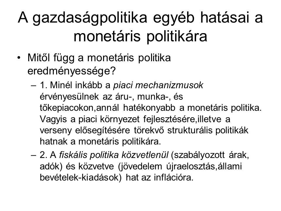A gazdaságpolitika egyéb hatásai a monetáris politikára Mitől függ a monetáris politika eredményessége? –1. Minél inkább a piaci mechanizmusok érvénye
