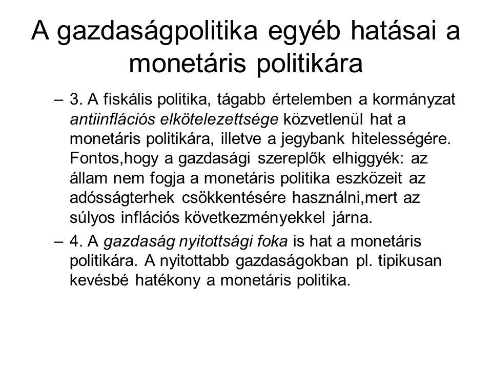 A gazdaságpolitika egyéb hatásai a monetáris politikára –3. A fiskális politika, tágabb értelemben a kormányzat antiinflációs elkötelezettsége közvetl