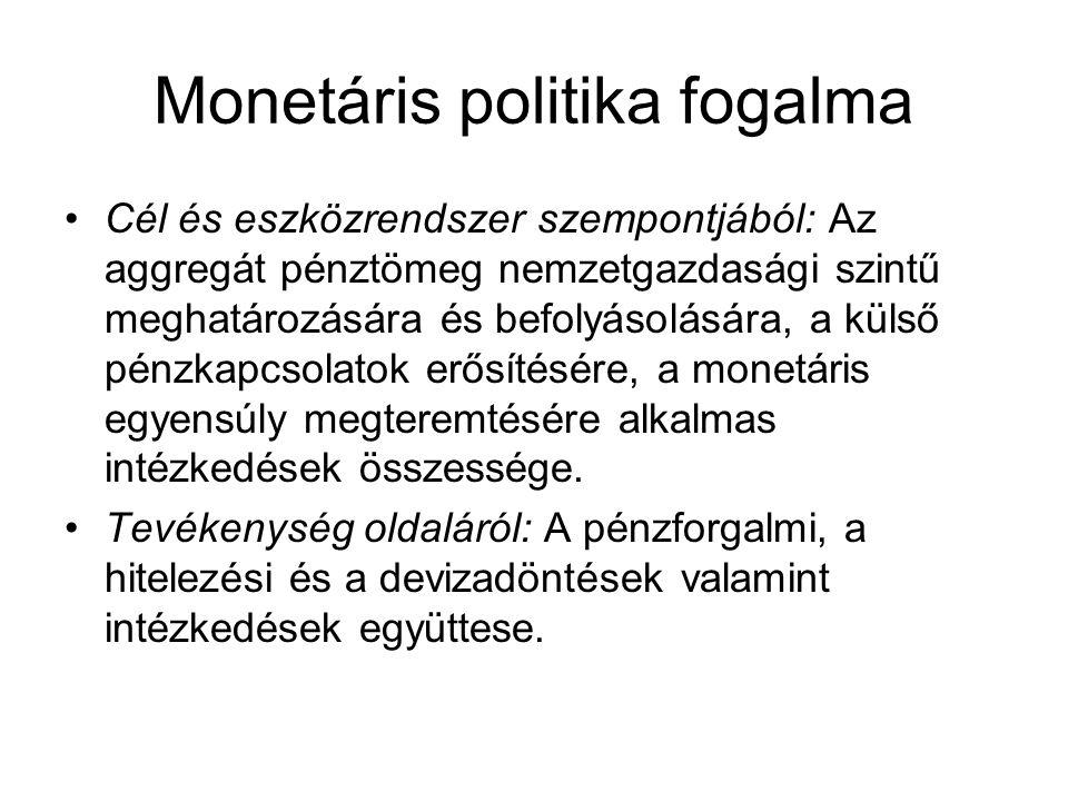 Monetáris politika fogalma Cél és eszközrendszer szempontjából: Az aggregát pénztömeg nemzetgazdasági szintű meghatározására és befolyásolására, a külső pénzkapcsolatok erősítésére, a monetáris egyensúly megteremtésére alkalmas intézkedések összessége.