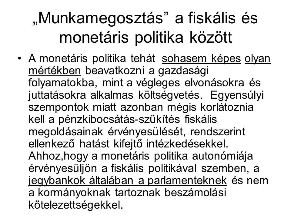 """""""Munkamegosztás a fiskális és monetáris politika között A monetáris politika tehát sohasem képes olyan mértékben beavatkozni a gazdasági folyamatokba, mint a végleges elvonásokra és juttatásokra alkalmas költségvetés."""