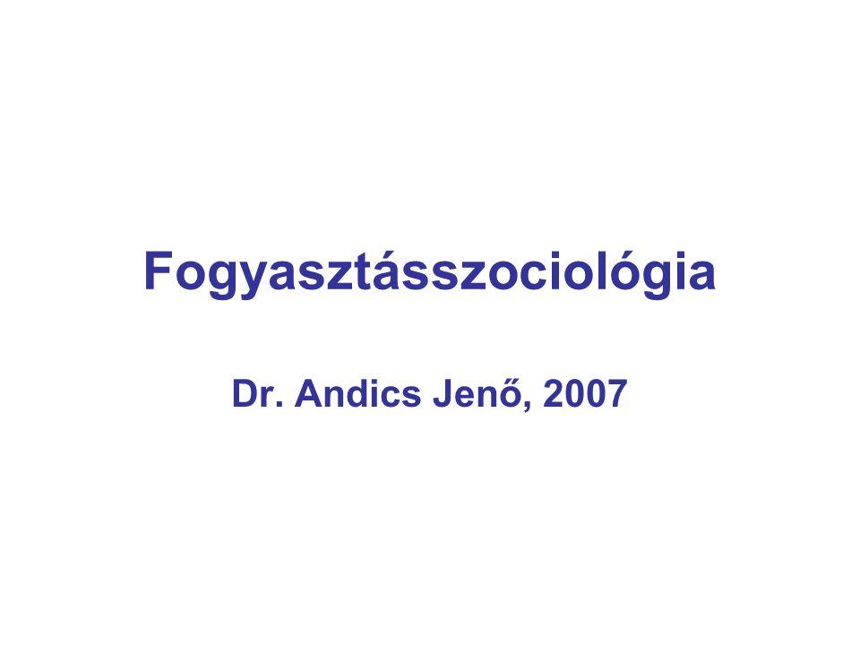 Fogyasztásszociológia Dr. Andics Jenő, 2007
