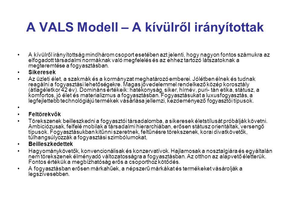 A VALS Modell – A kívülről irányítottak A kívülről irányítottság mindhárom csoport esetében azt jelenti, hogy nagyon fontos számukra az elfogadott tár