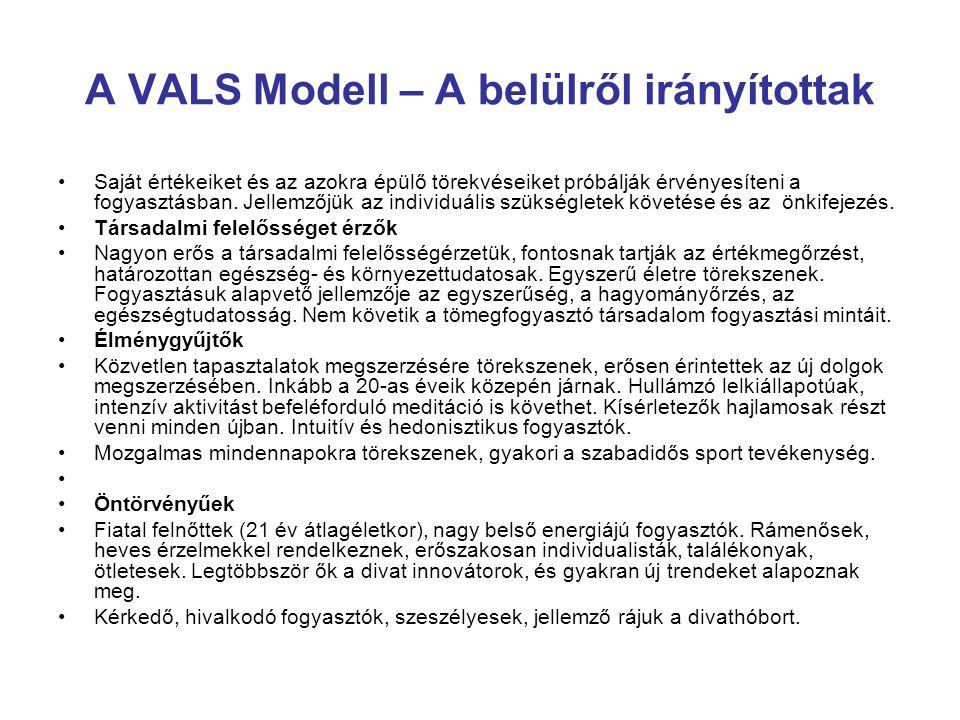 A VALS Modell – A belülről irányítottak Saját értékeiket és az azokra épülő törekvéseiket próbálják érvényesíteni a fogyasztásban. Jellemzőjük az indi