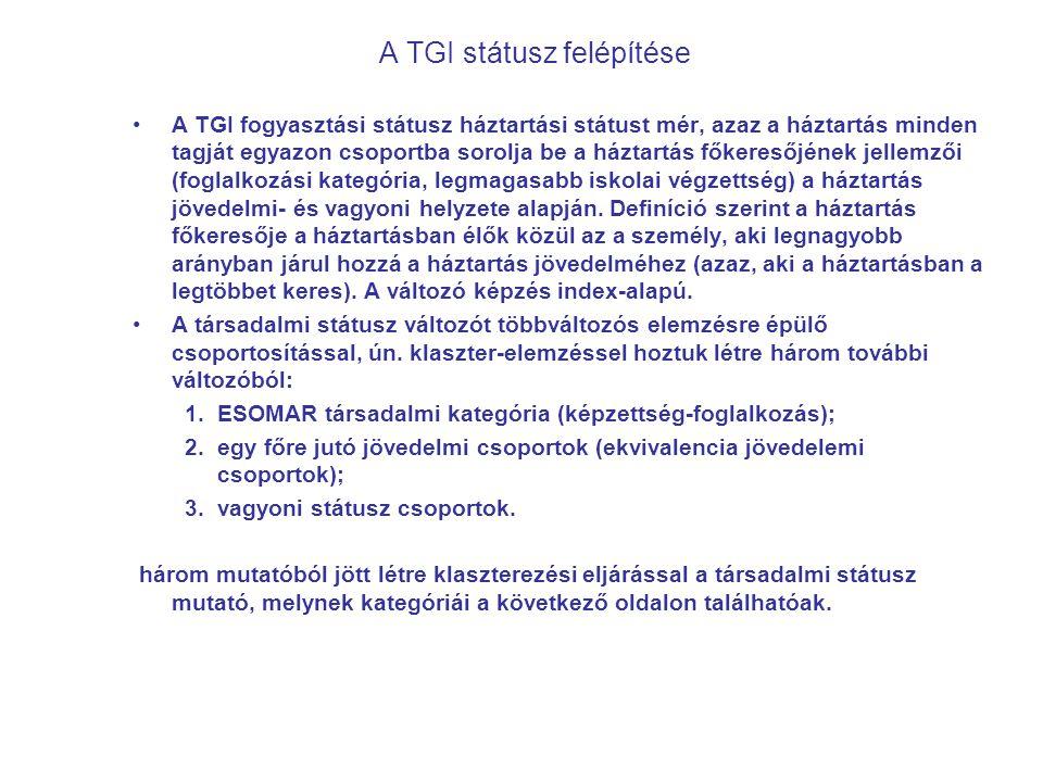 A TGI státusz felépítése A TGI fogyasztási státusz háztartási státust mér, azaz a háztartás minden tagját egyazon csoportba sorolja be a háztartás fők