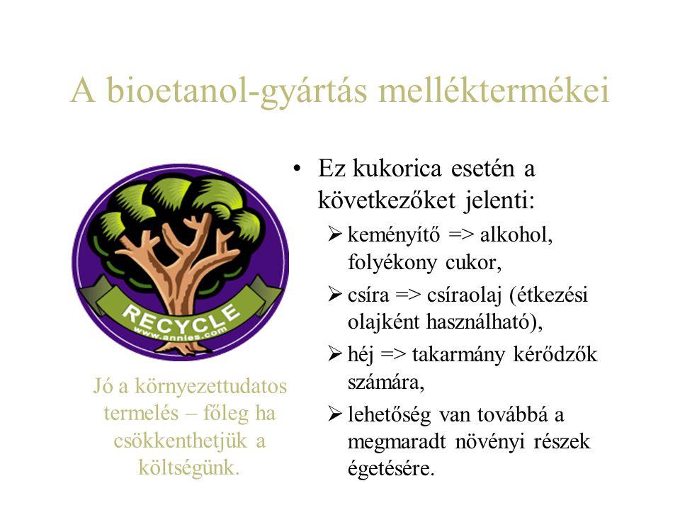 A bioetanol-gyártás melléktermékei Ez kukorica esetén a következőket jelenti:  keményítő => alkohol, folyékony cukor,  csíra => csíraolaj (étkezési