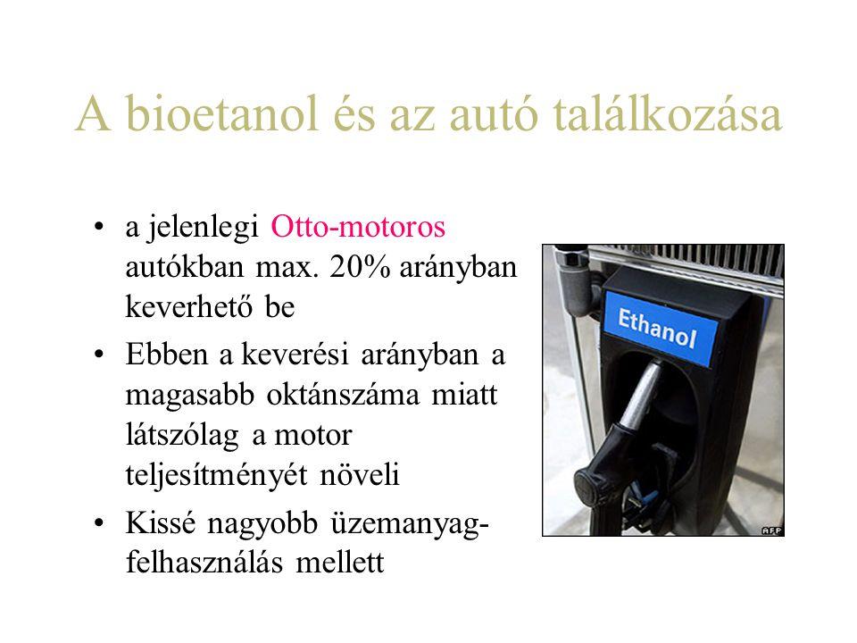 A bioetanol és az autó találkozása a jelenlegi Otto-motoros autókban max. 20% arányban keverhető be Ebben a keverési arányban a magasabb oktánszáma mi