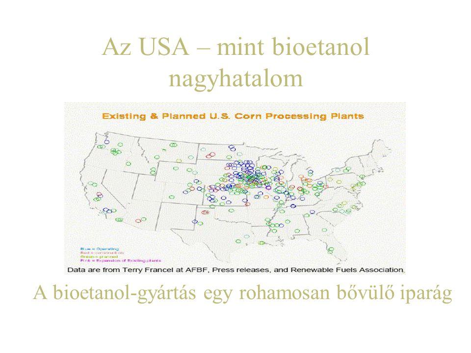 Az USA – mint bioetanol nagyhatalom A bioetanol-gyártás egy rohamosan bővülő iparág