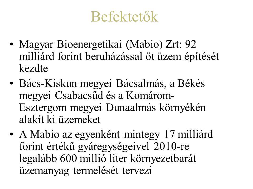 Befektetők Magyar Bioenergetikai (Mabio) Zrt: 92 milliárd forint beruházással öt üzem építését kezdte Bács-Kiskun megyei Bácsalmás, a Békés megyei Csa