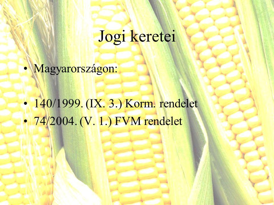 Jogi keretei Magyarországon: 140/1999. (IX. 3.) Korm. rendelet 74/2004. (V. 1.) FVM rendelet