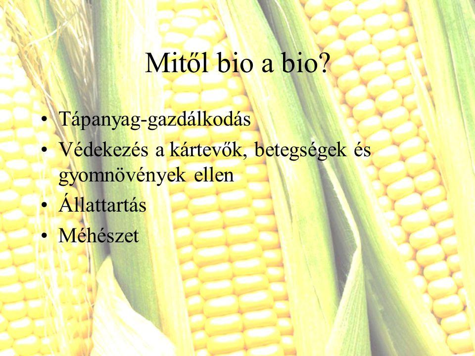 Mitől bio a bio? Tápanyag-gazdálkodás Védekezés a kártevők, betegségek és gyomnövények ellen Állattartás Méhészet