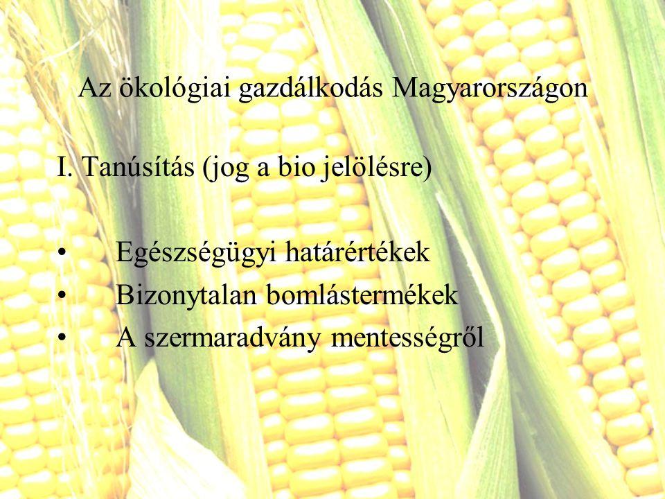 Az ökológiai gazdálkodás Magyarországon I. Tanúsítás (jog a bio jelölésre) Egészségügyi határértékek Bizonytalan bomlástermékek A szermaradvány mentes