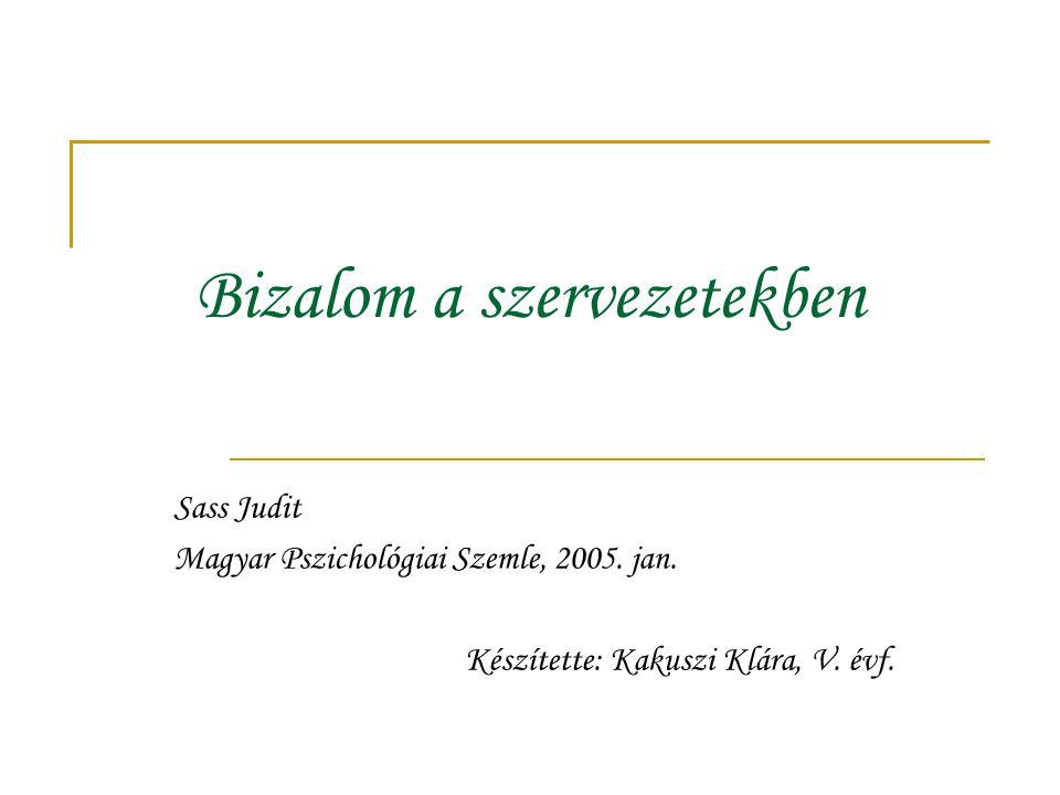 Bizalom a szervezetekben Sass Judit Magyar Pszichológiai Szemle, 2005. jan. Készítette: Kakuszi Klára, V. évf.