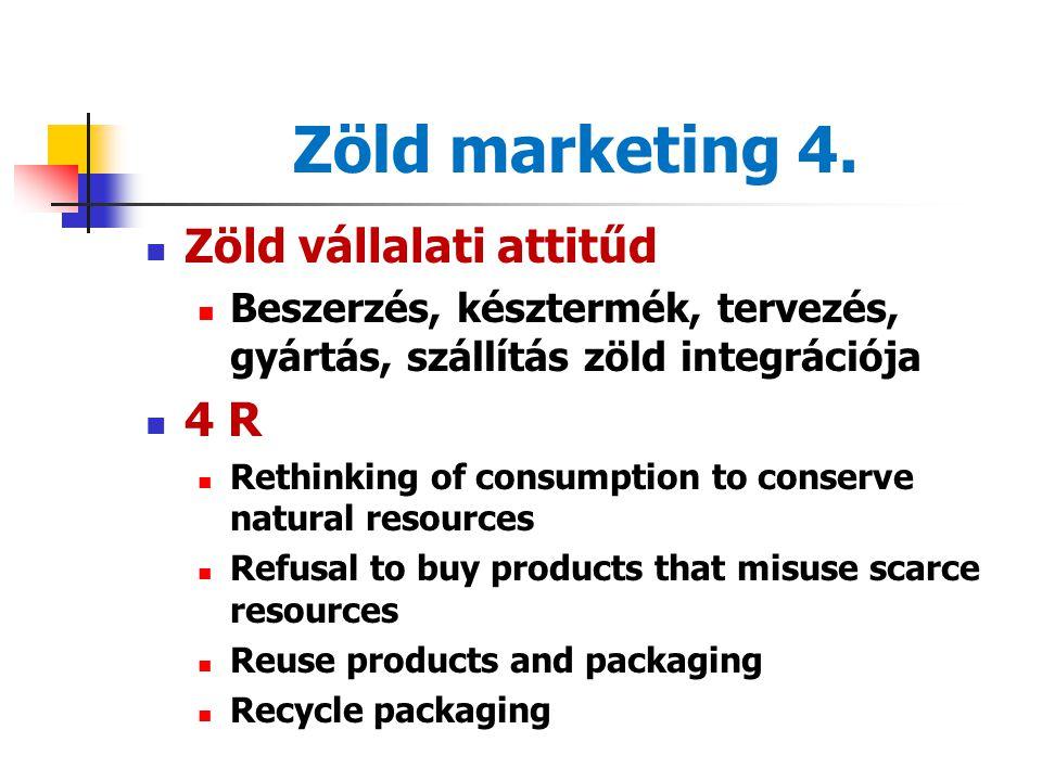 Zöld marketing 3. Zöld szegmensek élenjárók követők középmezőny szkeptikus-gyanakvók nem környezetbarát szegmens