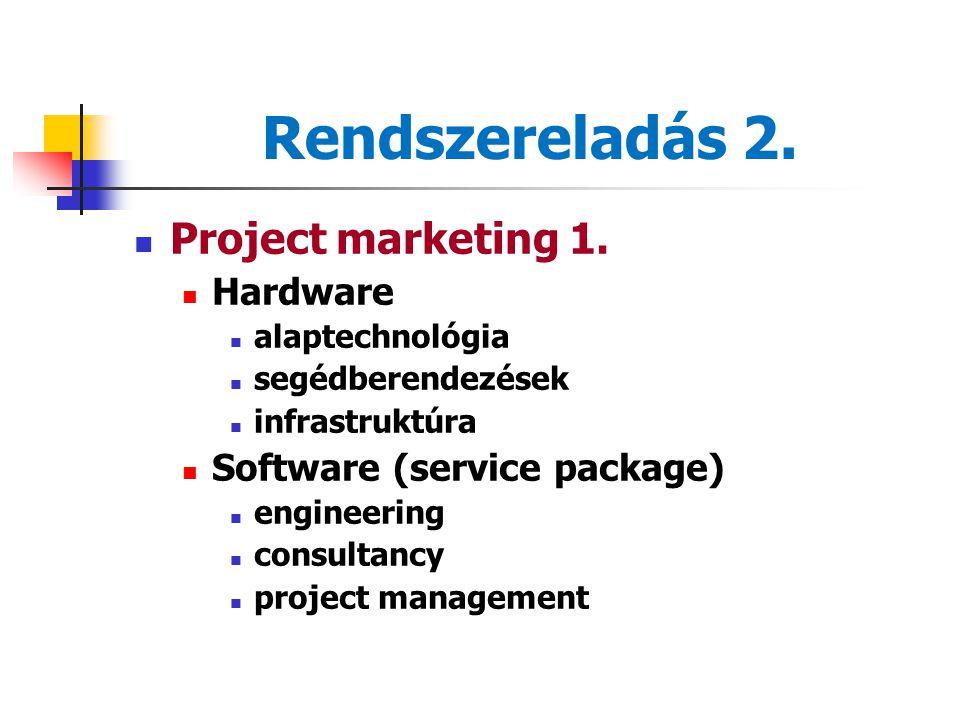 Rendszereladás 1. Sajátosságok Uniqueness (new buying task, project) Discontinuity (relationship management) Complexity (system) Project = target obje