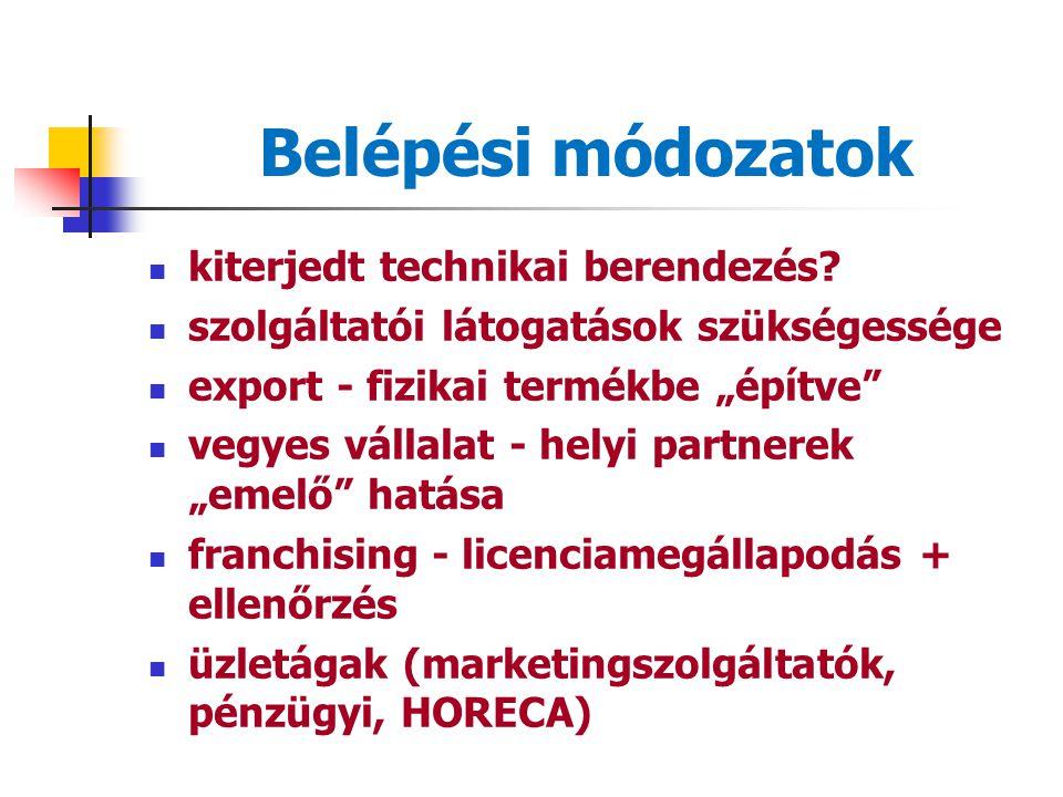 Nemzetköziesedés nem-fizikai természet piacrajutás megszorításai = belépési korlátok nem-fizikai+folyamat+elválaszthatatlan = A szolgáltatásnak a piac