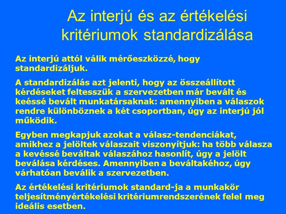 Az interjú és az értékelési kritériumok standardizálása Az interjú attól válik mérőeszközzé, hogy standardizáljuk.