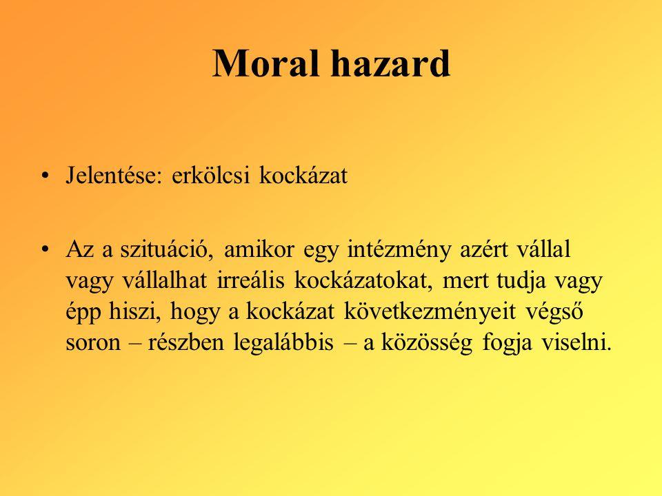 Moral hazard Jelentése: erkölcsi kockázat Az a szituáció, amikor egy intézmény azért vállal vagy vállalhat irreális kockázatokat, mert tudja vagy épp