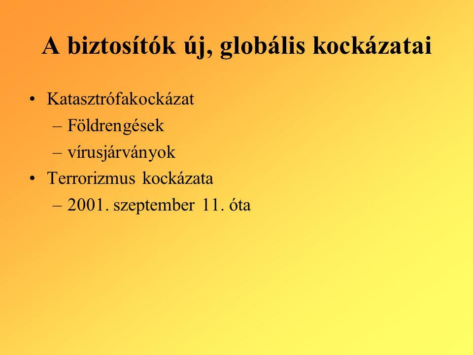 A biztosítók új, globális kockázatai Katasztrófakockázat –Földrengések –vírusjárványok Terrorizmus kockázata –2001. szeptember 11. óta