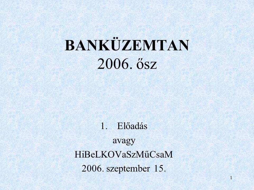 1 BANKÜZEMTAN 2006. ősz 1.Előadás avagy HiBeLKOVaSzMűCsaM 2006. szeptember 15.