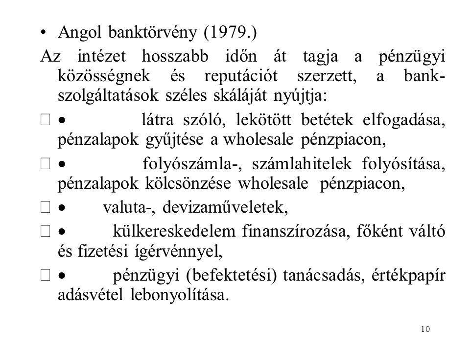 10 Angol banktörvény (1979.) Az intézet hosszabb időn át tagja a pénzügyi közösségnek és reputációt szerzett, a bank- szolgáltatások széles skáláját n
