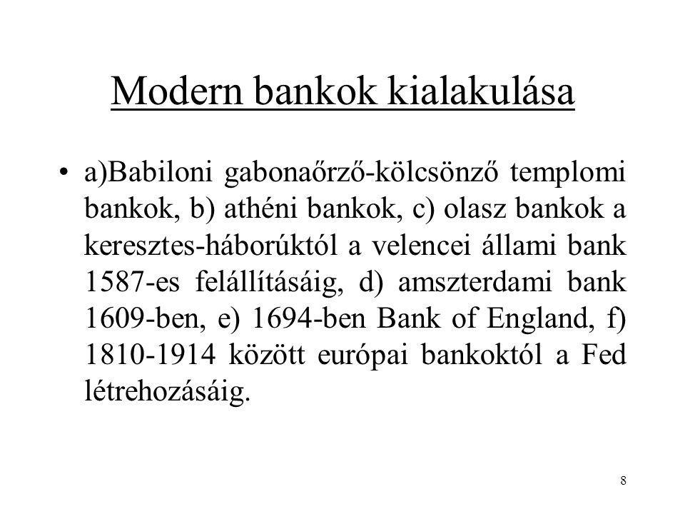 8 Modern bankok kialakulása a)Babiloni gabonaőrző-kölcsönző templomi bankok, b) athéni bankok, c) olasz bankok a keresztes-háborúktól a velencei állam