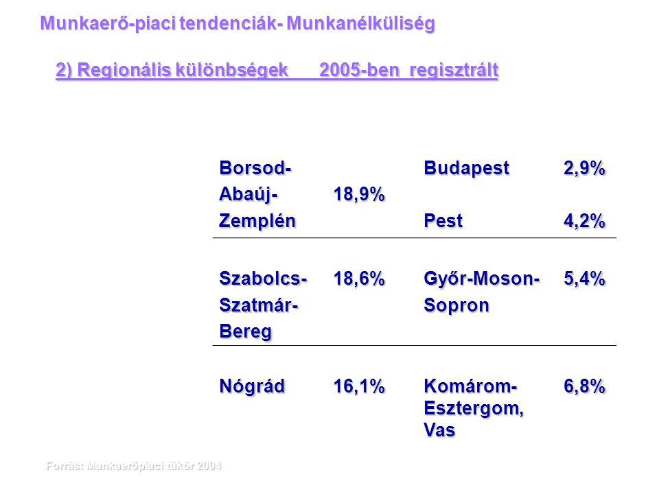 Forrás: Munkaerőpiaci tükör 2004 Munkaerő-piaci tendenciák- Munkanélküliség 2) Regionális különbségek 2005-ben regisztrált Borsod-Abaúj-Zemplén18,9%Bu