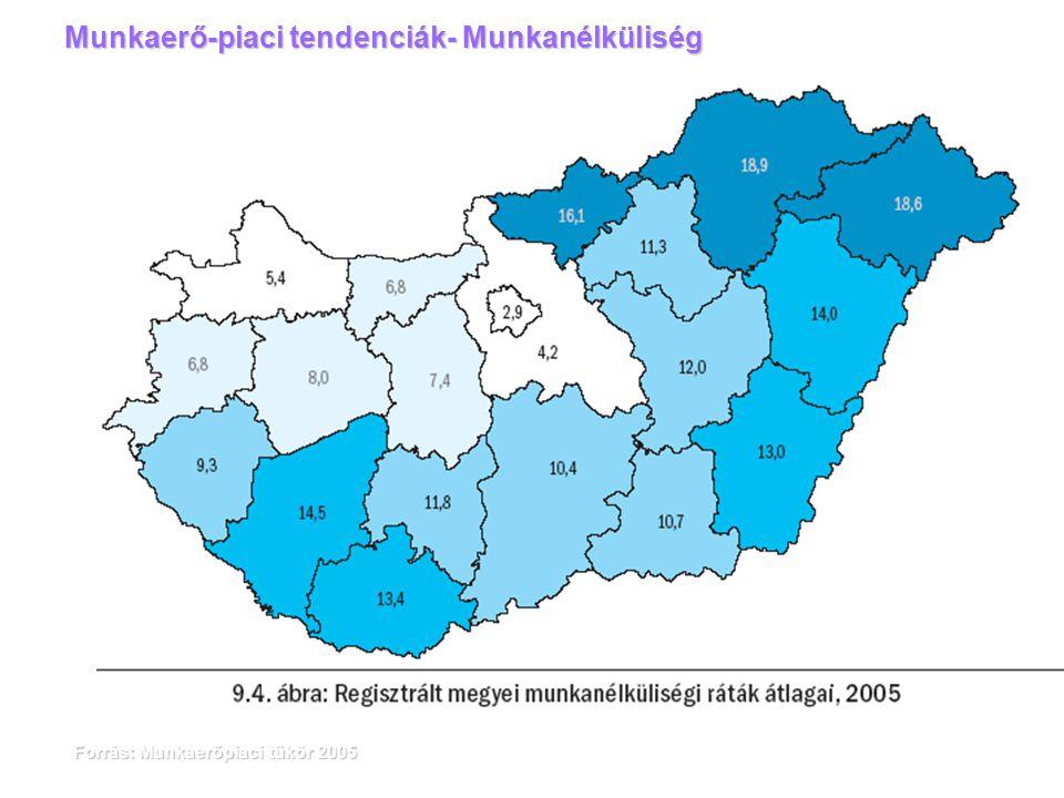 Forrás: Munkaerőpiaci tükör 2005 Munkaerő-piaci tendenciák- Munkanélküliség