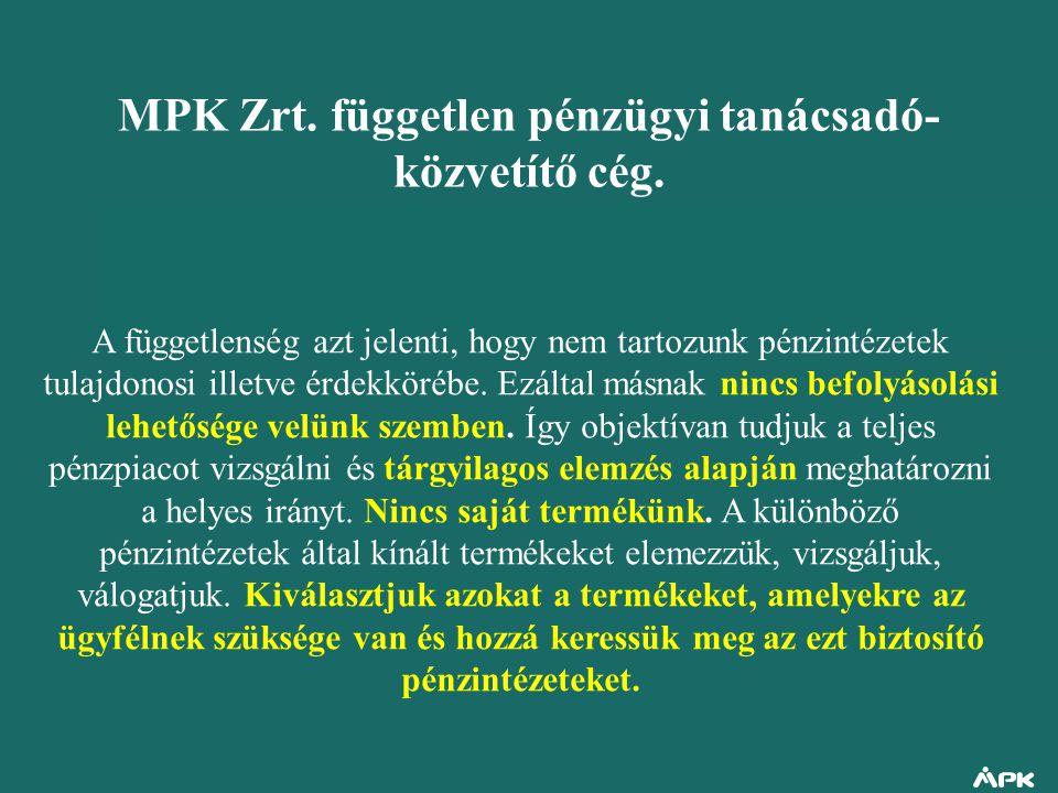 MPK Zrt. független pénzügyi tanácsadó- közvetítő cég. A függetlenség azt jelenti, hogy nem tartozunk pénzintézetek tulajdonosi illetve érdekkörébe. Ez