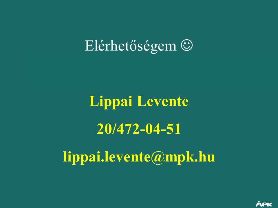 Elérhetőségem Lippai Levente 20/472-04-51 lippai.levente@mpk.hu