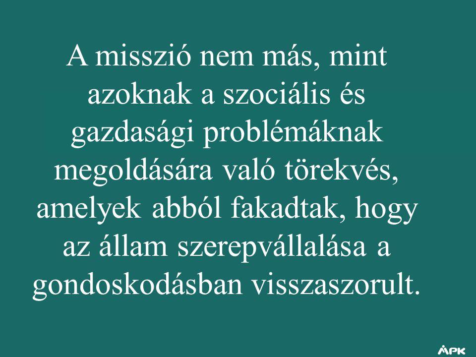 A misszió nem más, mint azoknak a szociális és gazdasági problémáknak megoldására való törekvés, amelyek abból fakadtak, hogy az állam szerepvállalása