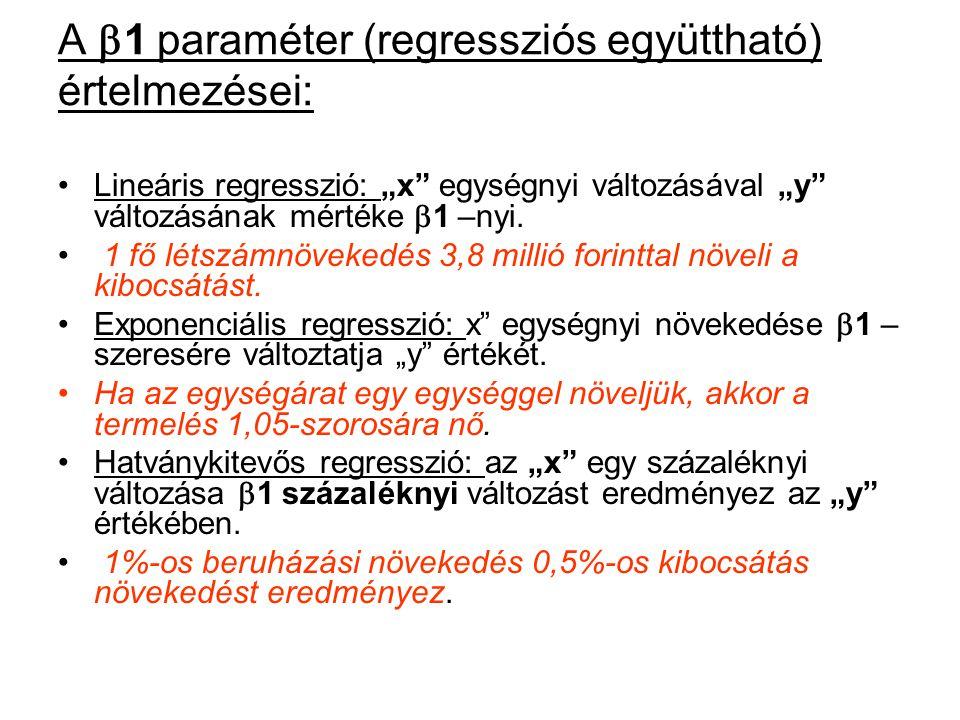"""A  1 paraméter (regressziós együttható) értelmezései: Lineáris regresszió: """"x"""" egységnyi változásával """"y"""" változásának mértéke  1 –nyi. 1 fő létszám"""