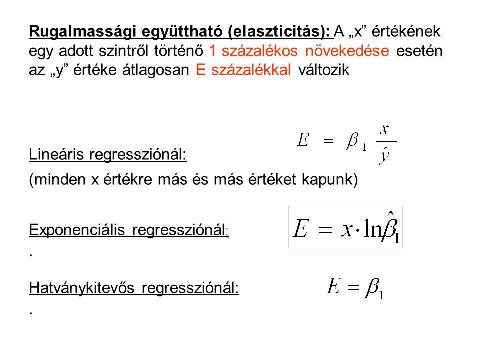 """Rugalmassági együttható (elaszticitás): A """"x"""" értékének egy adott szintről történő 1 százalékos növekedése esetén az """"y"""" értéke átlagosan E százalékka"""
