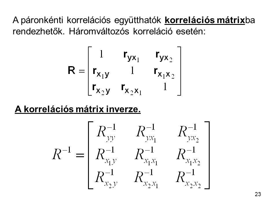 23 A páronkénti korrelációs együtthatók korrelációs mátrixba rendezhetők. Háromváltozós korreláció esetén: A korrelációs mátrix inverze.