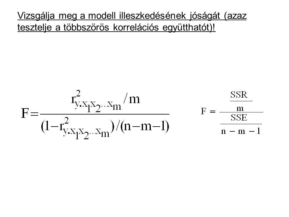 Vizsgálja meg a modell illeszkedésének jóságát (azaz tesztelje a többszörös korrelációs együtthatót)!