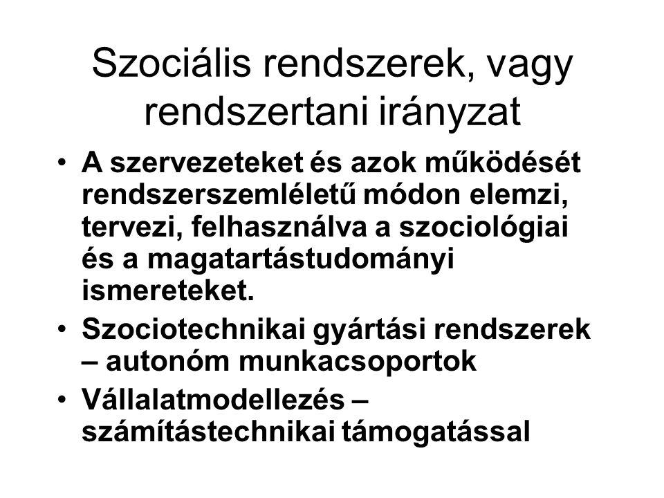 Szociális rendszerek, vagy rendszertani irányzat A szervezeteket és azok működését rendszerszemléletű módon elemzi, tervezi, felhasználva a szociológi