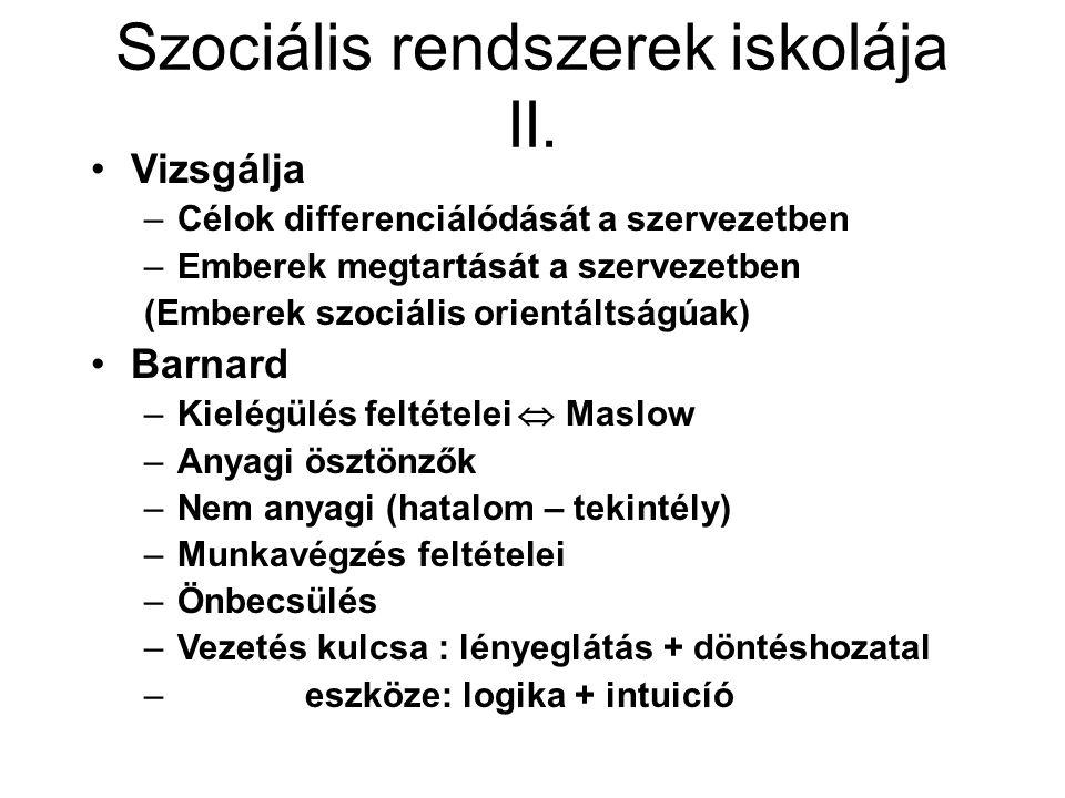 Szociális rendszerek iskolája II.