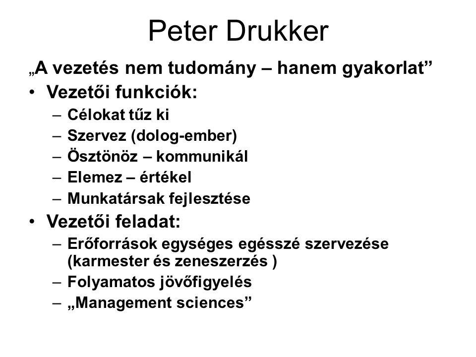 """Peter Drukker """"A vezetés nem tudomány – hanem gyakorlat"""" Vezetői funkciók: –Célokat tűz ki –Szervez (dolog-ember) –Ösztönöz – kommunikál –Elemez – ért"""