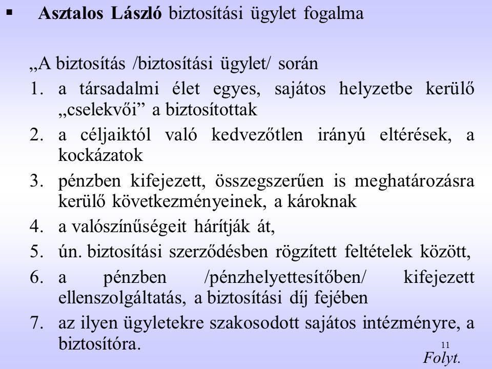 """11  Asztalos László biztosítási ügylet fogalma """"A biztosítás /biztosítási ügylet/ során 1.a társadalmi élet egyes, sajátos helyzetbe kerülő """"cselekvő"""